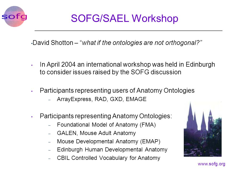SOFG/SAEL Workshop David Shotton – what if the ontologies are not orthogonal