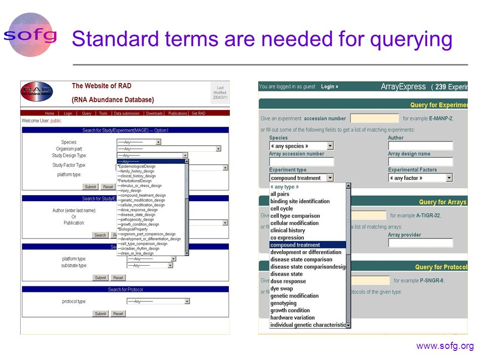 Standard terms are needed for querying