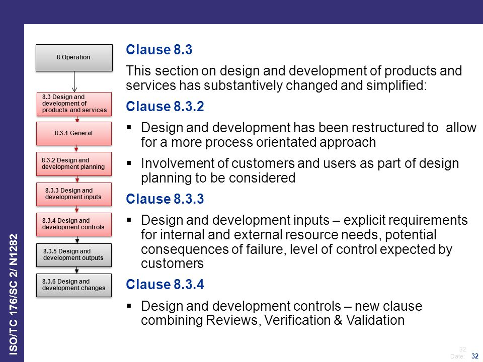 Clause 8.3 This section on design and development of products and services has substantively changed and simplified: