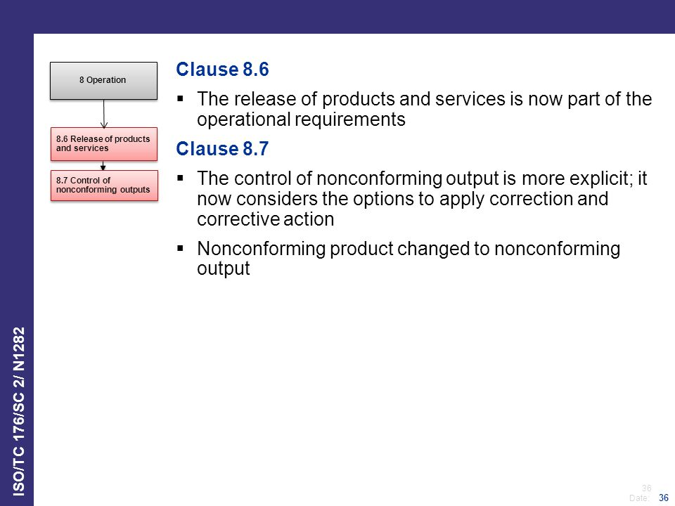 Nonconforming product changed to nonconforming output