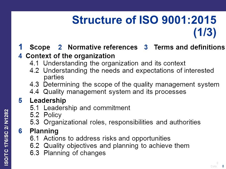 Structure of ISO 9001:2015 (1/3) Scope 2 Normative references 3 Terms and definitions. 4 Context of the organization.