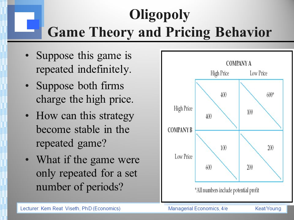 oligopoly pricing and game theory The oligopoly price is less than the monopoly price but greater than the  to  analyze the economics of cooperation, we need to learn a little about game  theory.