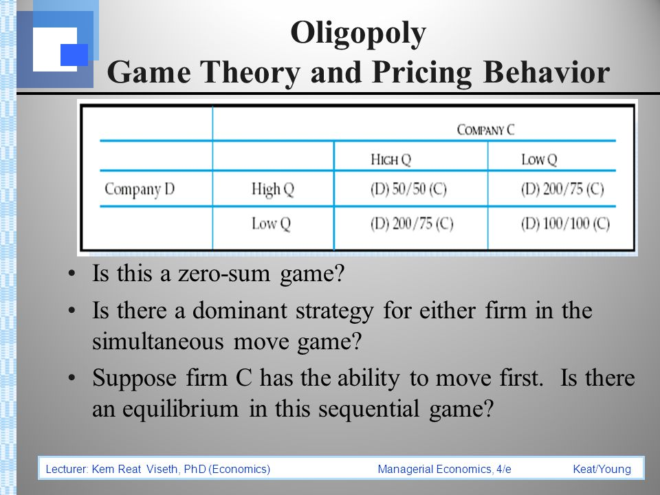 oligopoly and game theory Note: most microeconomics texts have introduced some amount of game theory in the oligopoly chapter.