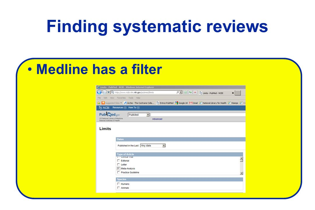 Finding systematic reviews