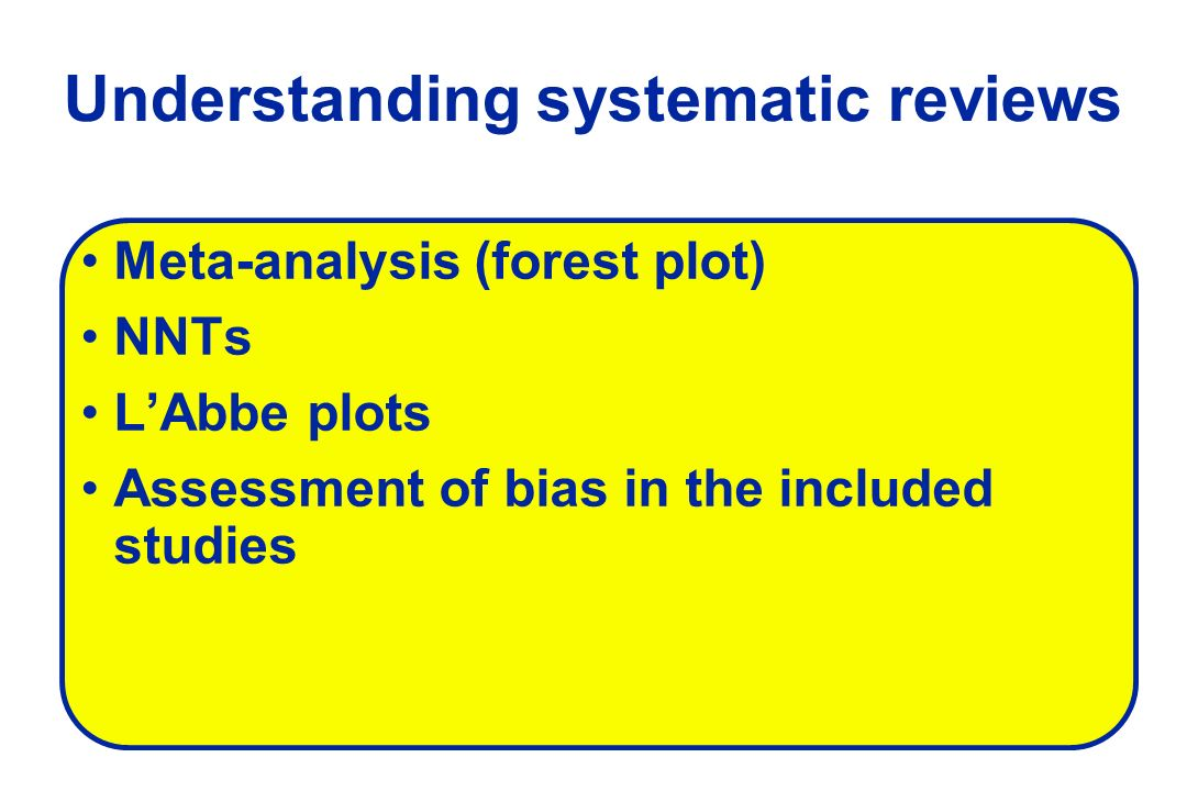 Understanding systematic reviews