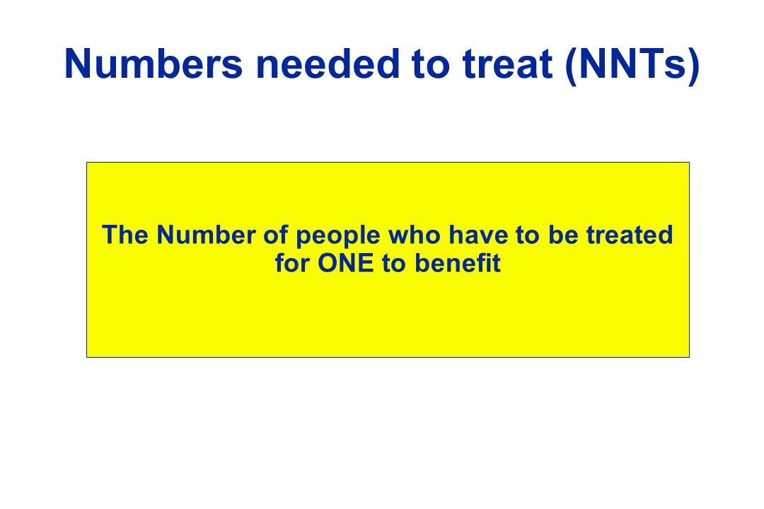 Numbers needed to treat (NNTs)