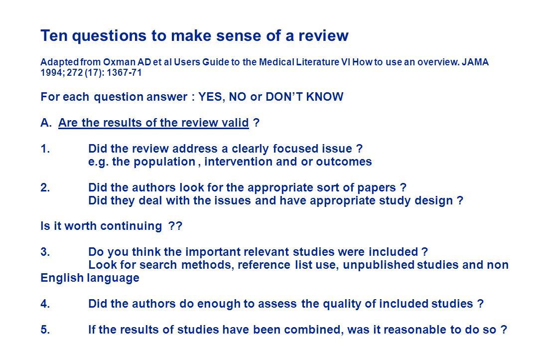 Ten questions to make sense of a review