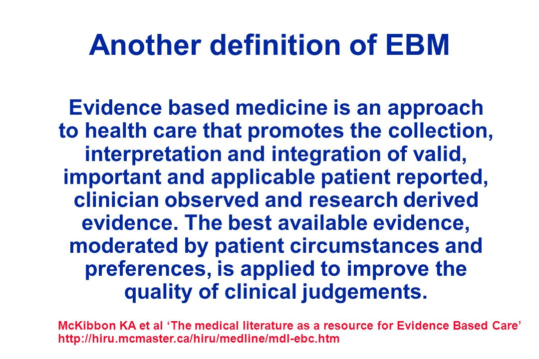 Another definition of EBM