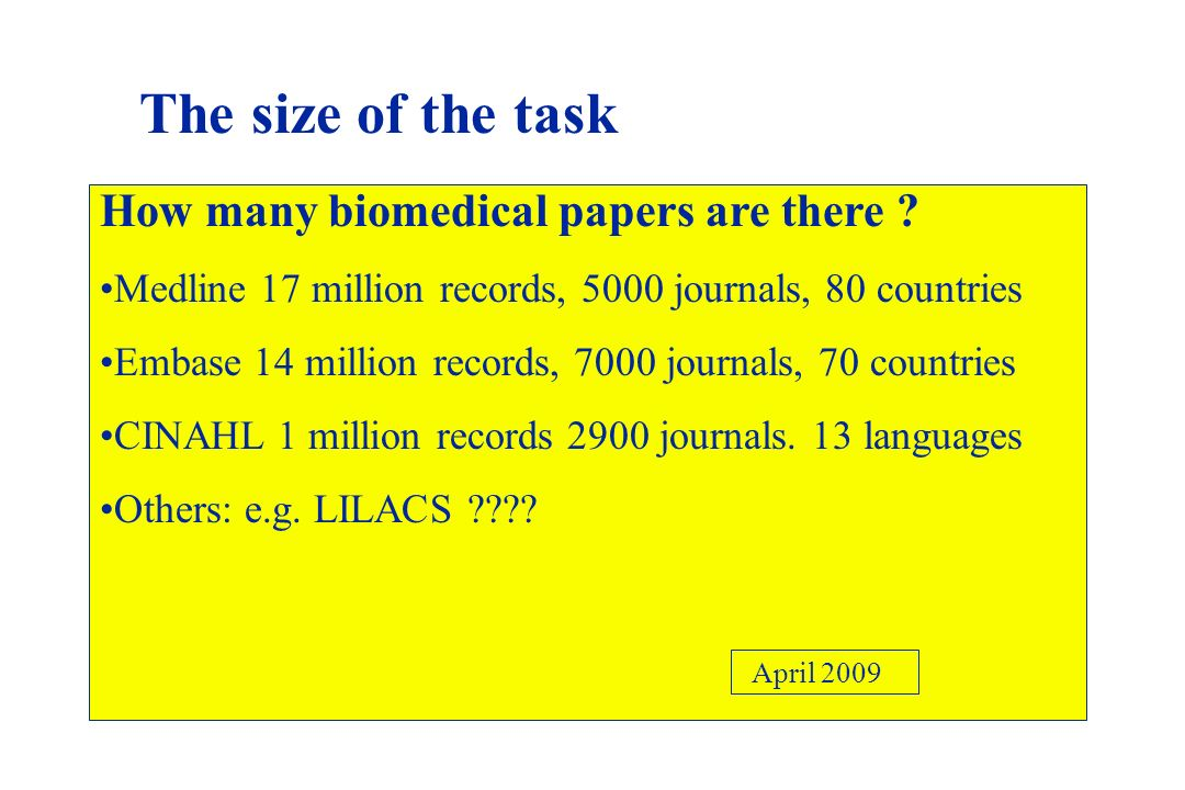 The size of the task How many biomedical papers are there
