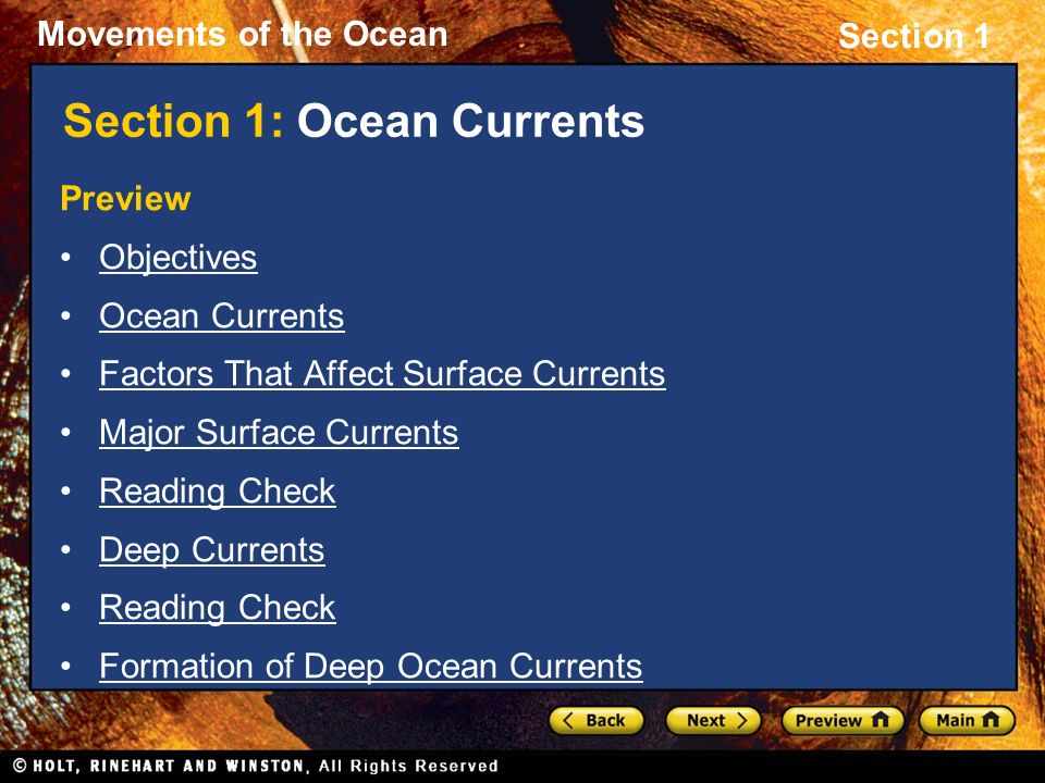 Section 1: Ocean Currents