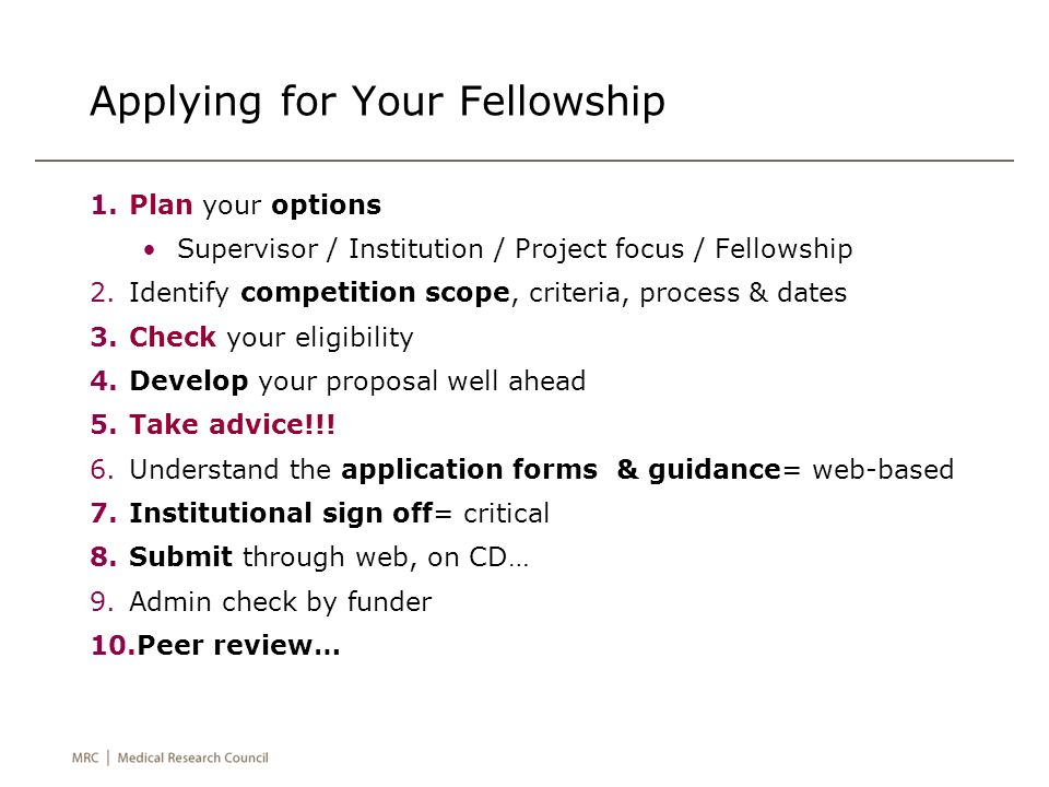 Applying for Your Fellowship