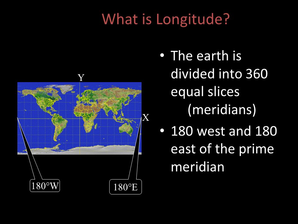 What is Longitude The earth is divided into 360 equal slices (meridians) 180 west and 180 east of the prime meridian.