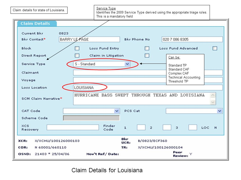 Claim Details for Louisiana