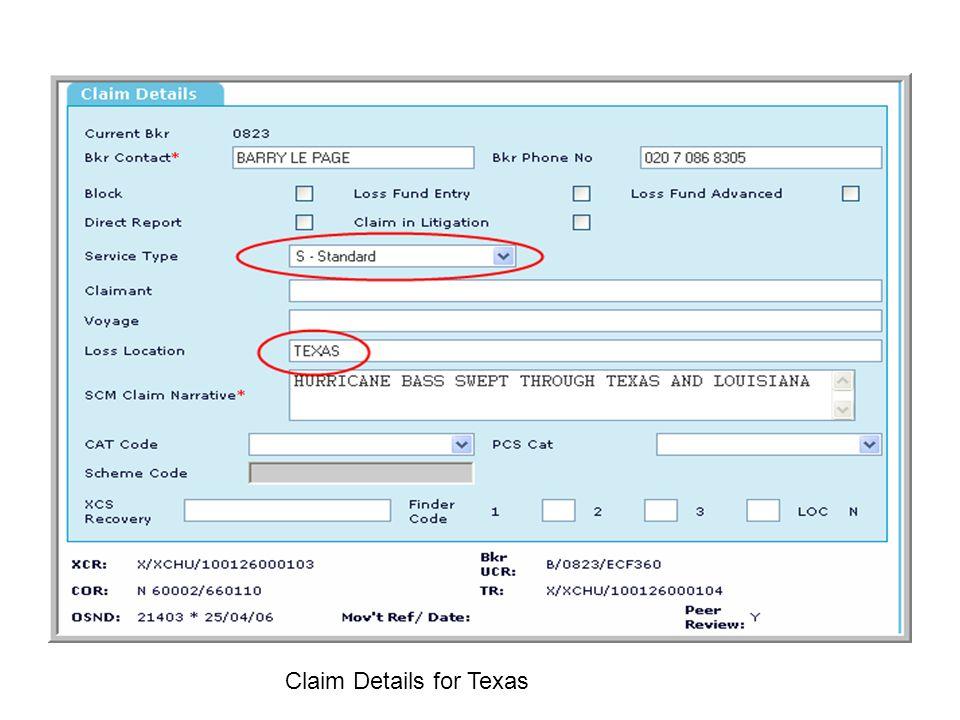 Claim Details for Texas