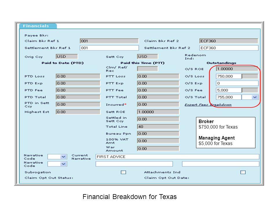 Financial Breakdown for Texas