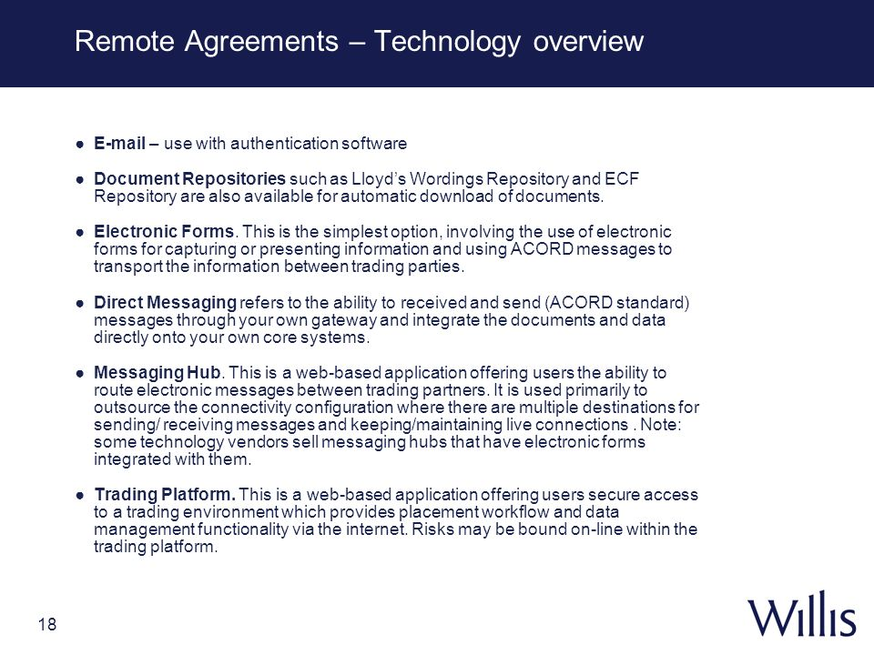 Remote Agreements – Technology overview