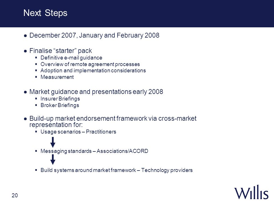 Next Steps December 2007, January and February 2008