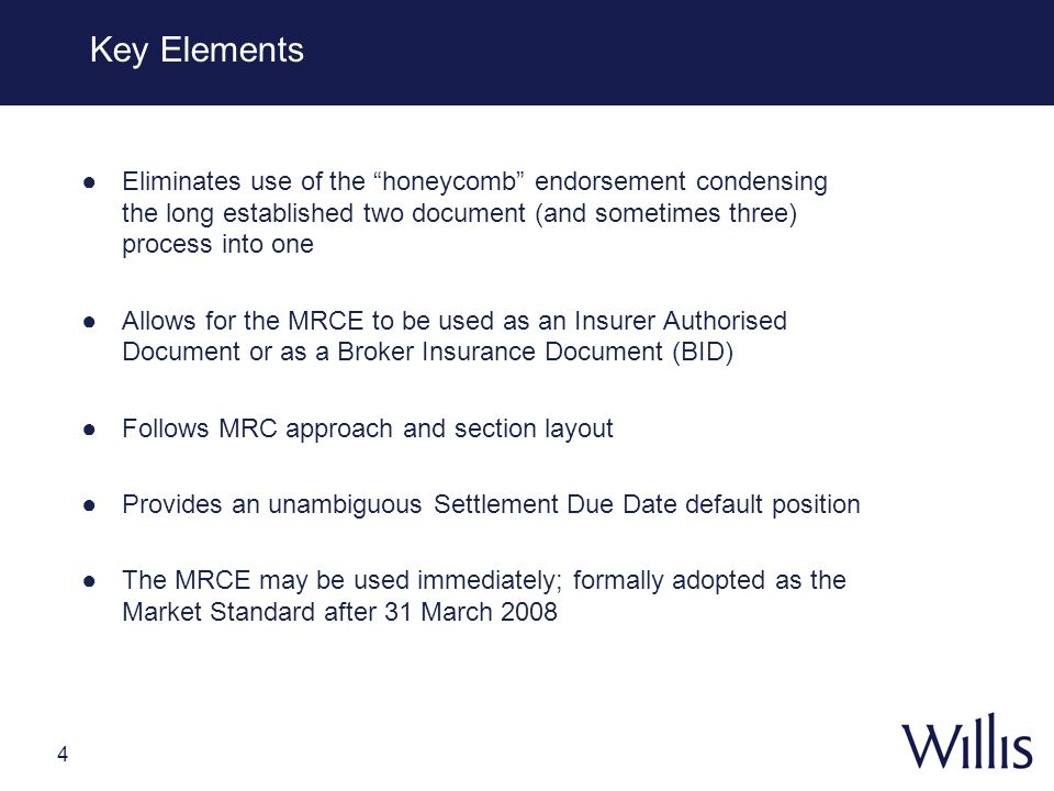 Key Elements Eliminates use of the honeycomb endorsement condensing the long established two document (and sometimes three) process into one.