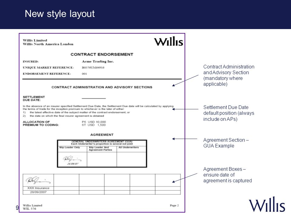 New style layoutContract Administration and Advisory Section (mandatory where applicable)