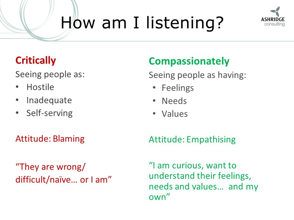 How am I listening Critically Compassionately Seeing people as:
