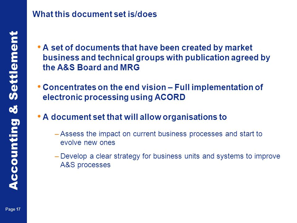 What this document set is not/does not