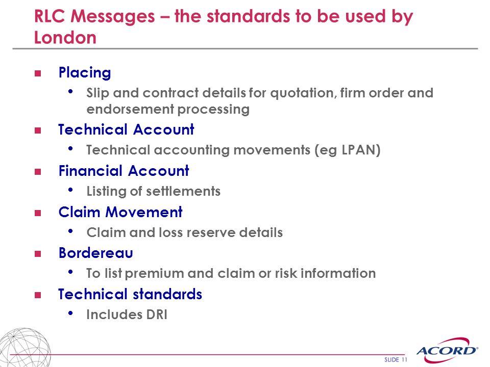 RLC Messages – the standards to be used by London
