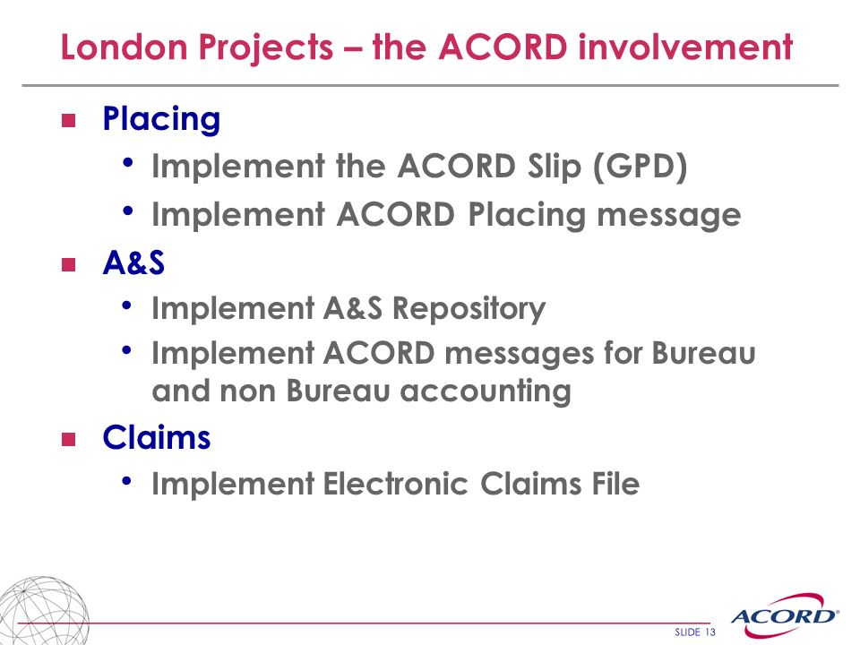 London Projects – the ACORD involvement