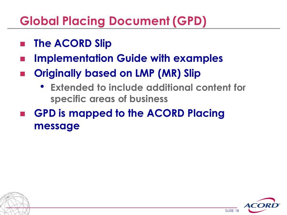 Global Placing Document (GPD)