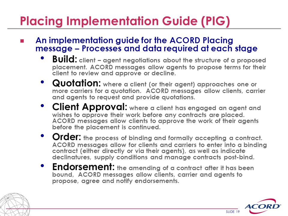 Placing Implementation Guide (PIG)
