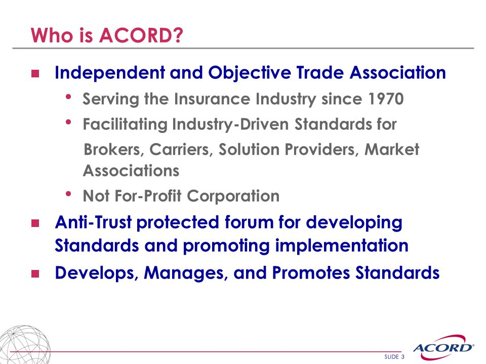 Who is ACORD Independent and Objective Trade Association