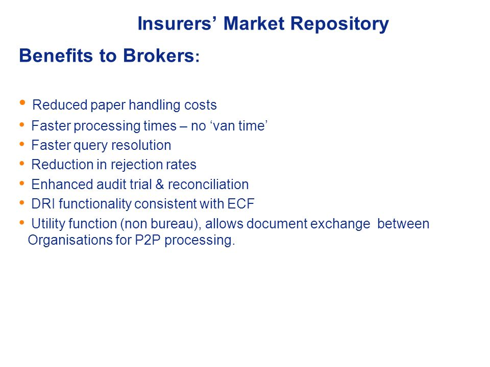 Insurers' Market Repository - Implementation status