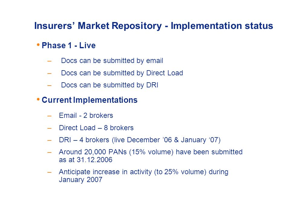 Insurers Market Repository – Implementation status