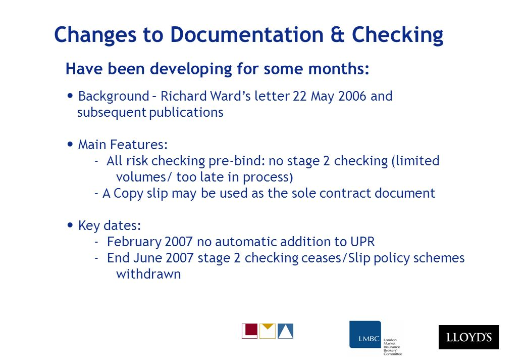 Changes to Documentation & Checking