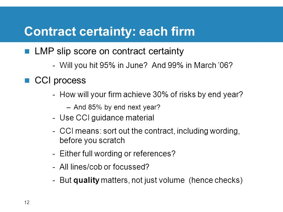 Contract certainty: each firm