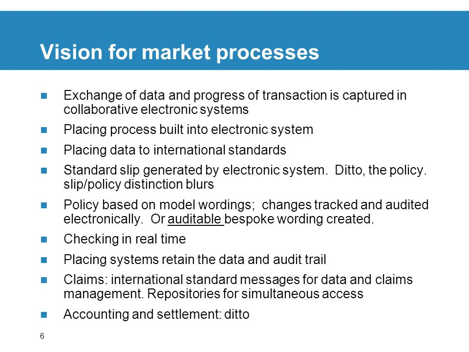 Vision for market processes