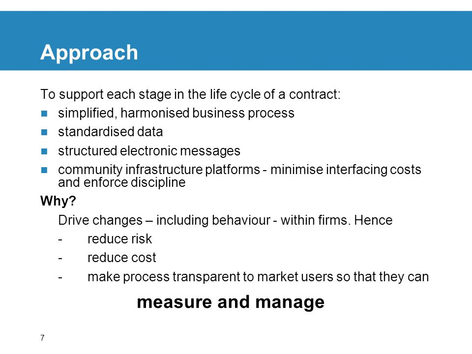 Approach measure and manage