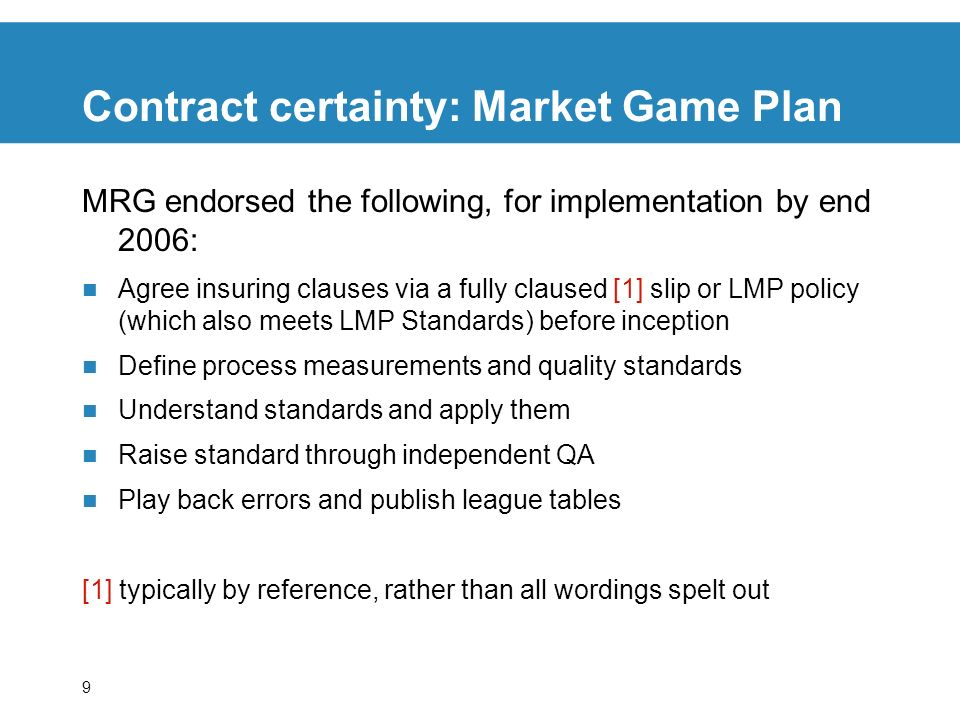 Contract certainty: Market Game Plan