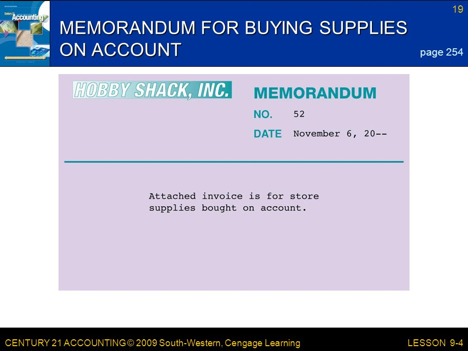 MEMORANDUM FOR BUYING SUPPLIES ON ACCOUNT