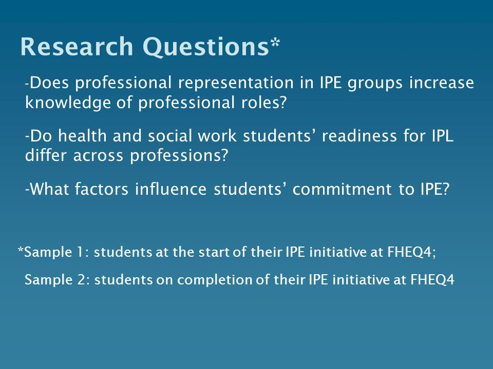 Research Questions* -Does professional representation in IPE groups increase knowledge of professional roles