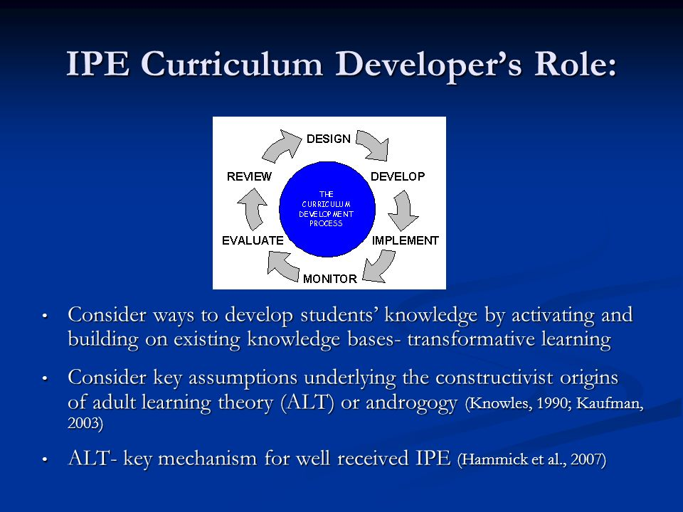 IPE Curriculum Developer's Role: