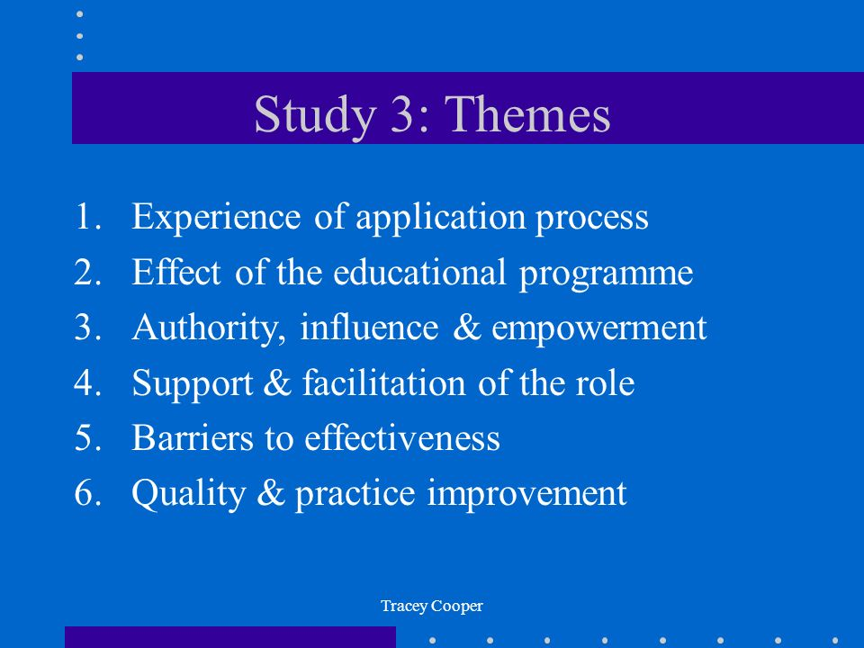Study 3: Themes Experience of application process