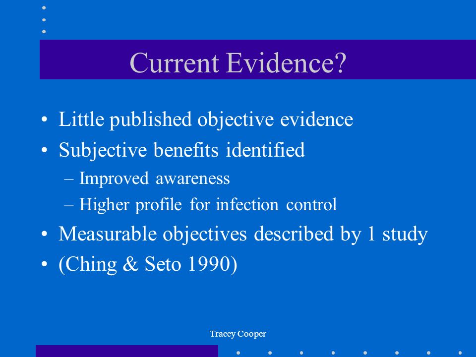 Current Evidence Little published objective evidence