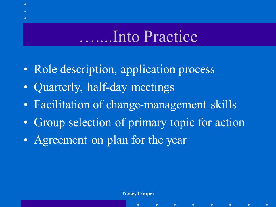 …....Into Practice Role description, application process