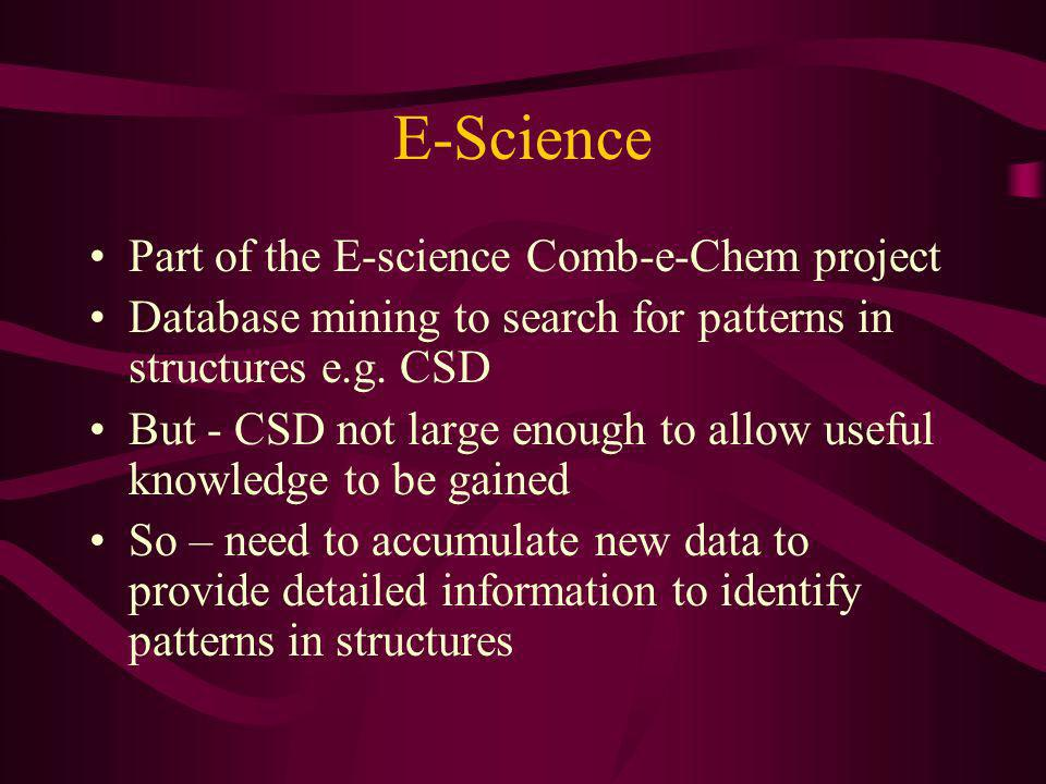 E-Science Part of the E-science Comb-e-Chem project