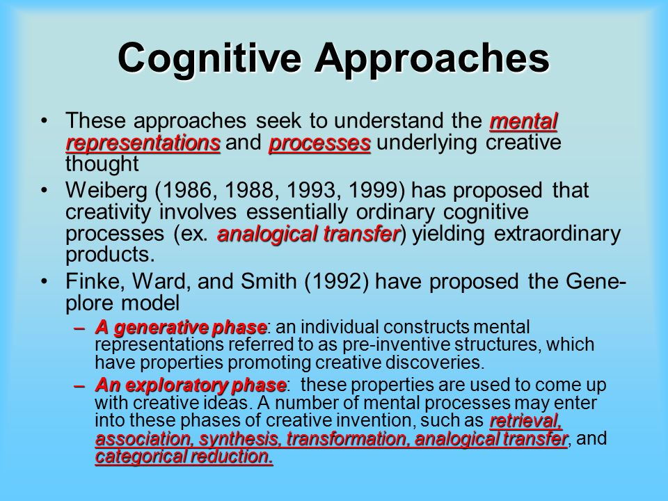 understanding the cognitive approach on the mental process Psychology ch 1 study  psychologists observe and describe behavior and mental processes to better understand them an example would be a sports psychologist .