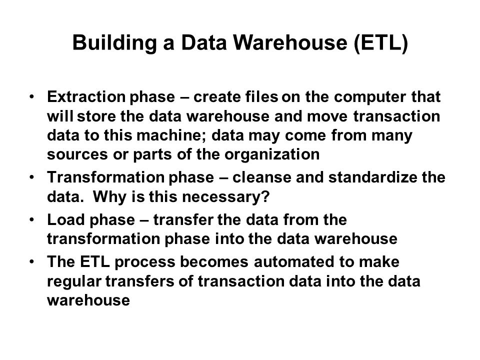 how to create a data warehouse
