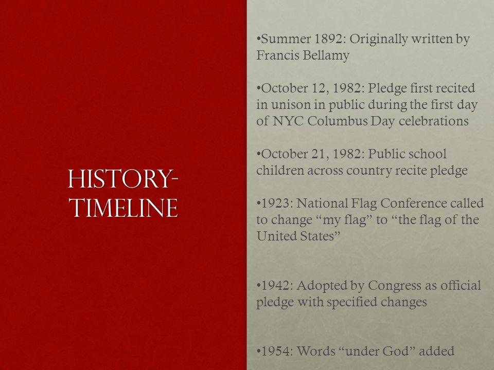 History-Timeline Summer 1892: Originally written by Francis Bellamy