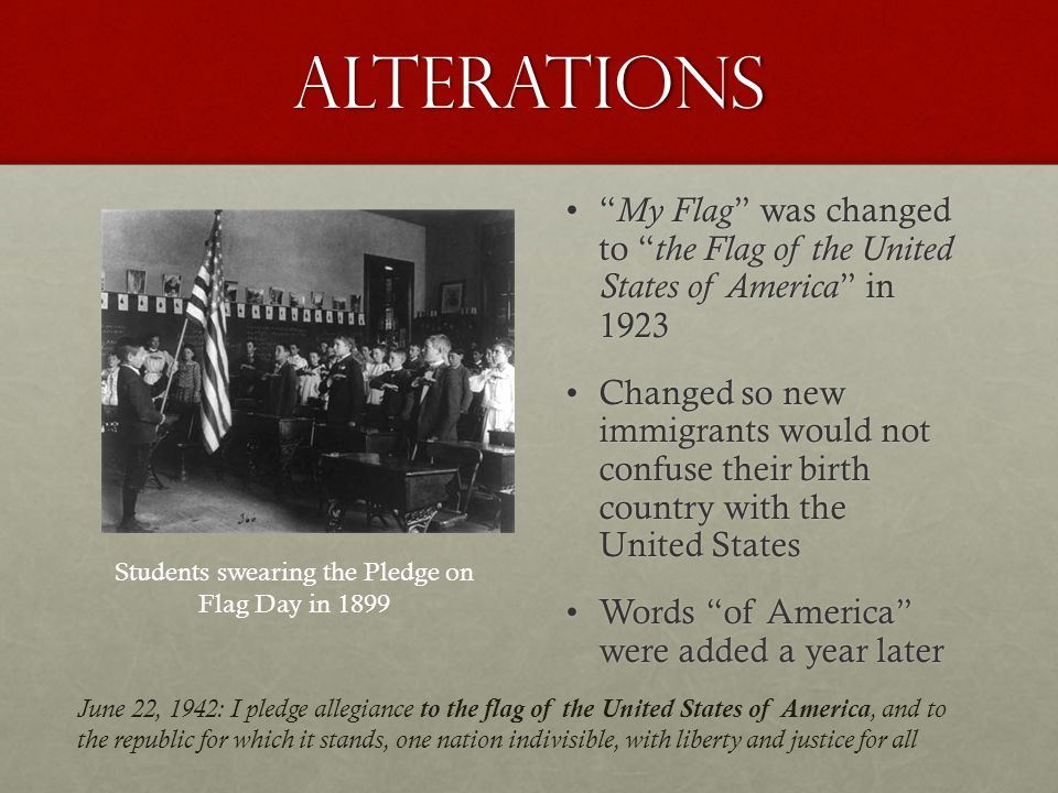 Students swearing the Pledge on Flag Day in 1899