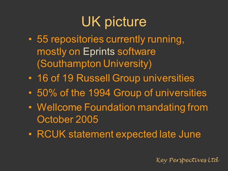 UK picture 55 repositories currently running, mostly on Eprints software (Southampton University) 16 of 19 Russell Group universities.