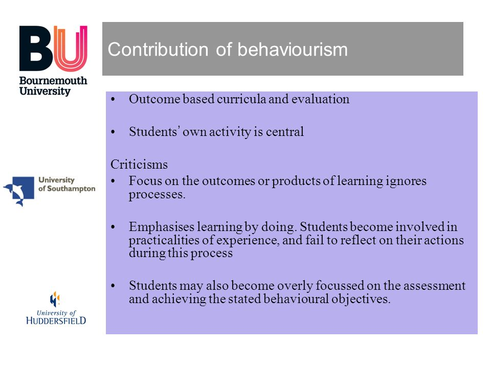 Contribution of behaviourism
